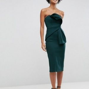 ASOS Emerald Green Strapless Scuba Dress